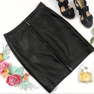 Express {genuine leather} front zip pencil skirt